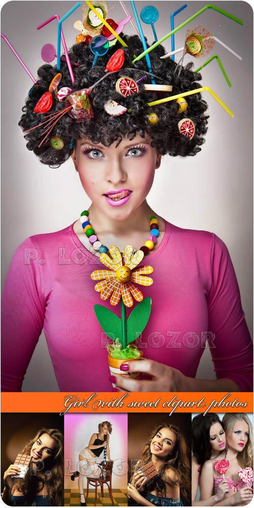 Девушка со сладостью | Girl with sweet clipart photos