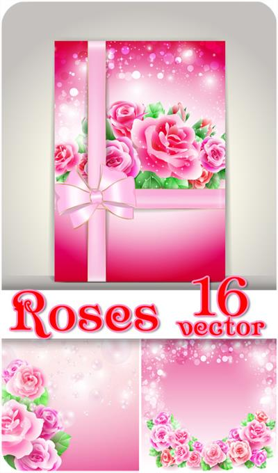 Roses, cards with beautiful roses, vector backgrounds