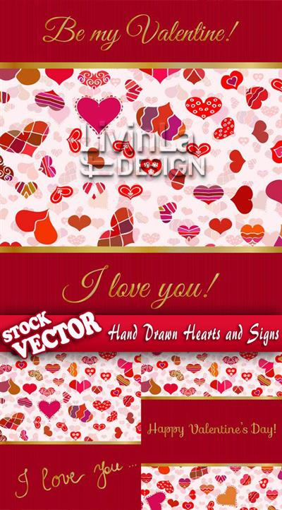 Stock Vector - Hand Drawn Hearts and Signs