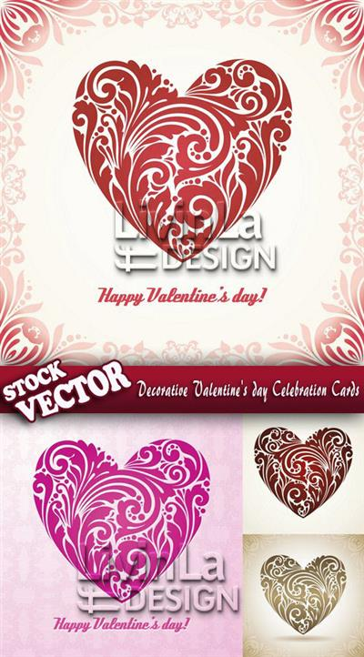 Stock Vector - Decorative Valentine's day Celebration Cards