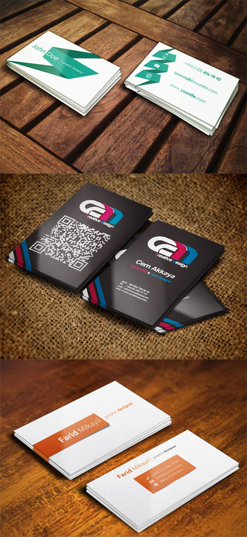 3 Business Cards Mock up Volume 2 PSD